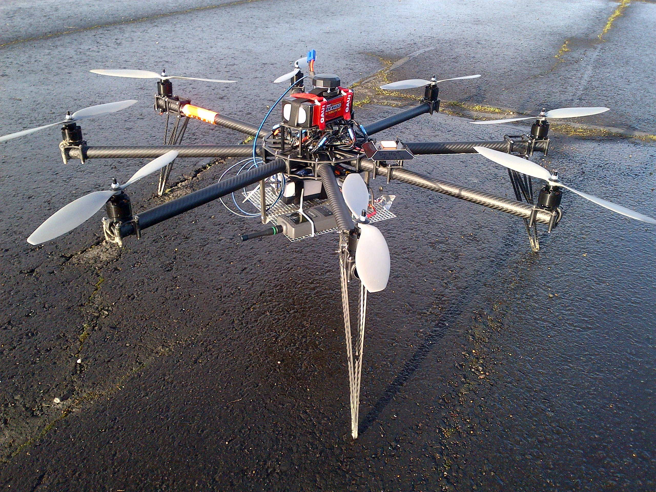 The UAV used to test the new communications system