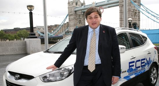 Kit Malthouse, Deputy Mayor of London & Chairman of the London Hydrogen Partnership with Hyundai ix35 Fuel-Cell Electric Car.