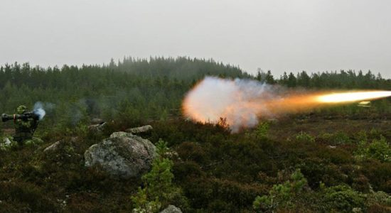 The Thales and Saab produced shoulder-carried anti-tank NLAW missile in action - image courtesy of Mestec