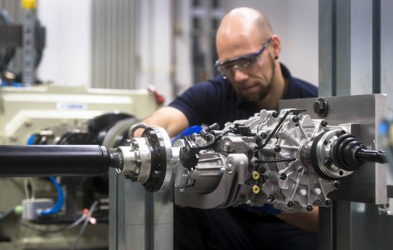 All-wheel drive testing rig at GKN Driveline in Lohmar, Germany