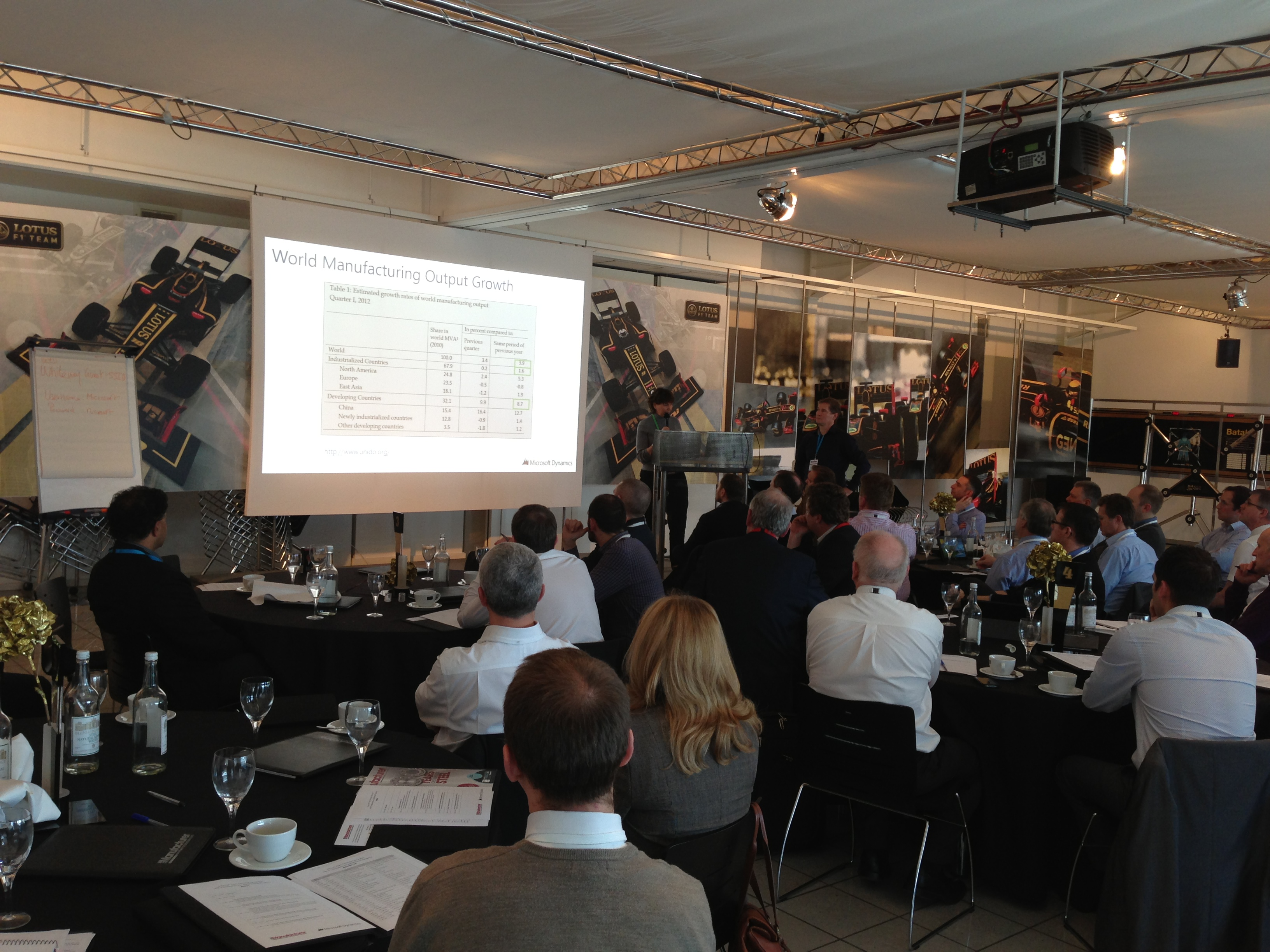 Melissa Cook, global industry lead manufacturing for Microsoft Dynamics, during her presentation at the Lotus F1 Team Communications and Heritage Centre
