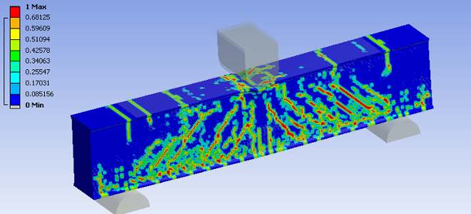 Damage contours of reinforced concrete with loading, simulated using ANSYS