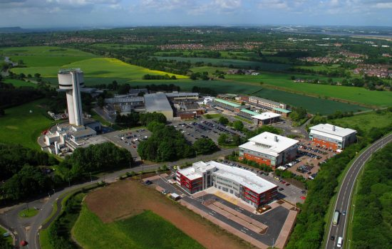 An aerial shot of Sci-Tech Daresbury.