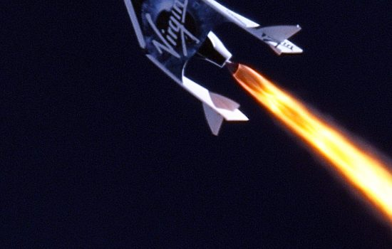 Virgin Galactic test flight - photo courtesy of Virgin Galactic, MarsScientific.com and Clay Center Observatory
