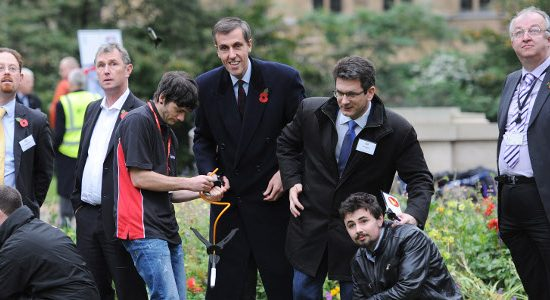 MPs and apprentices gather to launch Aerospace Youth Rocketry Challenge.