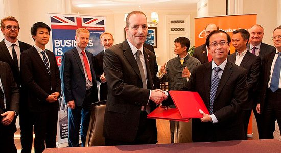 Lord Livingston with the Memorandum of Understanding between Alibaba and new companies, in Shanghai