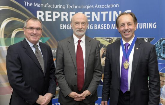 Graham Dewhurst Director General MTA, Professor Sir Mike Gregory Head of the Institute for Manufacturing (IfM) at Cambridge University, Mark Ridgway OBE President MTA.