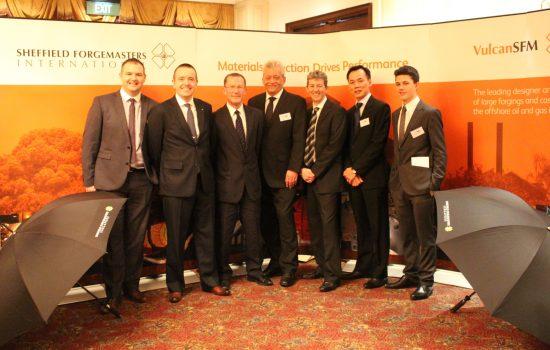 Sheffield Forgemasters in Singapore - Gareth Barker, Neil Maskrey, Paul Mockford, Dr Graham Honeyman, Ian Nicholls, Clive Pour and Daviyd Franckeiss