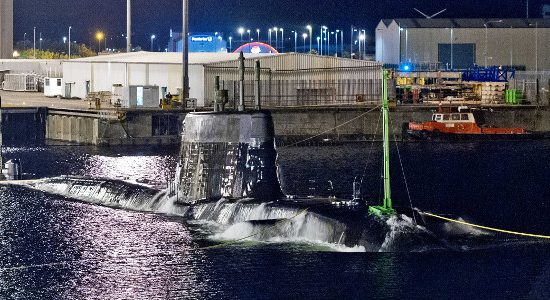 Artful, the third Astute class submarine, undertaking her maiden dive in Barrow in Furness.