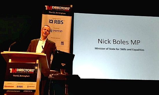Minister for Skills and Equalities, Nick Boles during his presentation today at The Manufacturer Directors' Conference