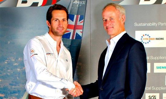 Sir Ben Ainslie and Robin Hancock MD of PLM at signing of agreement