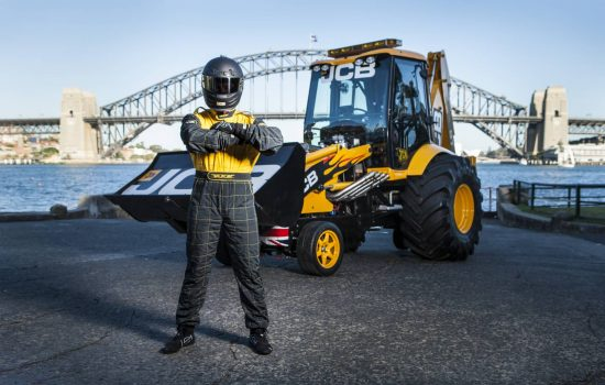JCB GT, the world's fastest digger, takes a lap of honour around Sydney.