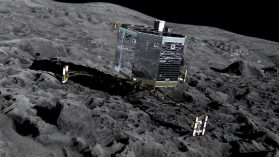 The Philae lander at work on Comet 67P/Churyumov-Gerasimenko. While Rosetta studies the comet from close orbit, Philae will obtain measurements from the surface