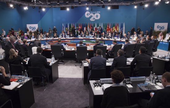 General view of the G20 Leaders' Summit opening session in Brisbane. Photograph by Ray Cash and G20 Australia