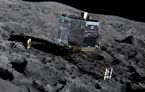 An artists impression of the Philae lander on the surface of the comet. Image and videos courtesy of ESA .