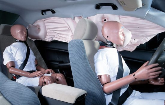 In 2002 Honda introduced new, rapidly deploying side curtain airbag that protects vehicle occupants from head and neck injuries in the event of a side collision - image courtesy of Honda.