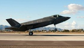 The first Royal Australian Air Force F-35A Lightning II jet arrived at Luke Air Force Base Dec. 18, 2014. U.S. Air Force photo by Staff Sgt. Staci Miller.