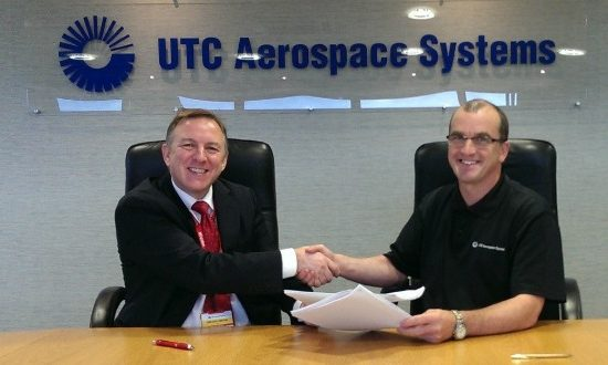 Nigel Clifford (left), AIC's Head of Sales and Andy Hodge, UTC Aerospace Systems' Deputy General Manager at the contract signing.