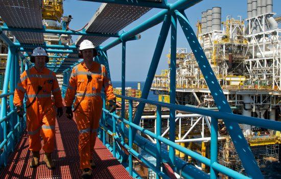 Workers on the ConocoPhilips Bayu Undan facility in the Timor Sea, Australia