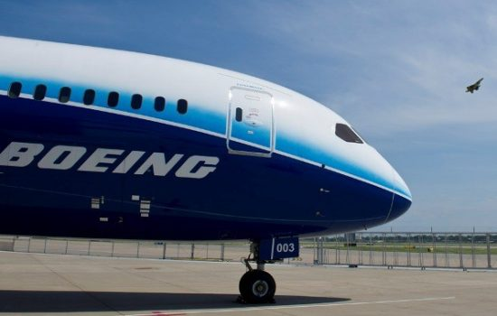The 787 and F-15 are captured in the same photo during a stop on the Dream Tour in St. Louis - image courtesy of Boeing.
