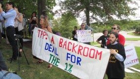An image of the anti-TPP rally which took part in Leesburg, Virginia and included groups such as the Sierra Club, Communications Workers of America, Friends of the Earth and Occupy Wall Street - image courtesy of Global Trade Watch.