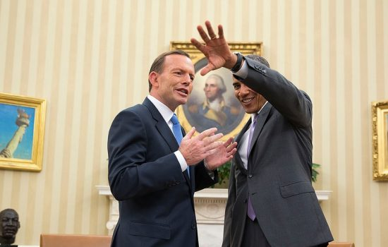 President Barack Obama jokes with Prime Minister Tony Abbott of Australia following a bilateral meeting in the Oval Office, June 12, 2014.