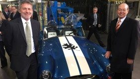 Martin Keller, associate laboratory director at Oak Ridge National Laboratory (ORNL), and Jimmy G. Cheek, chancellor of the University of Tennessee, Knoxville, stand beside the 3D-printed Shelby Cobra, which was unveiled during the President's visit Friday, January 9, 2015. (Photo credit: Taylor Eighmy / University of Tennessee)