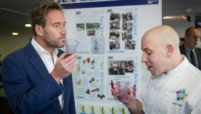 Celebrity chef Steve Walpole and Ben Fogle sampling Spa Dew, by Paige Dean, Shauna Scott and Airann Richards
