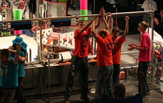 The Morris Area High School team (The Plaid Pillagers) was competing in FIRST Robotics for their second year and won the Imagery Award