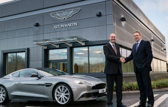 Ian Minards (L) and George Gillespie (R) stand in front of the new Aston Martin Facility at the MIRA technology park - image courtesy of Mira and AML.