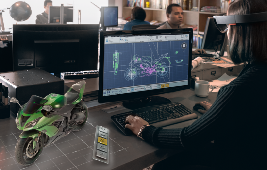 Microsoft HoloLens features see-through holographic high-definition lenses and spatial sound so you can view and hear holograms in the world around you. Image courtesy of Microsoft.
