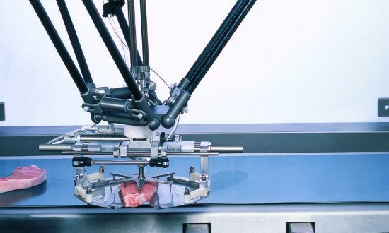 A factory line robotic limb picks up some meat