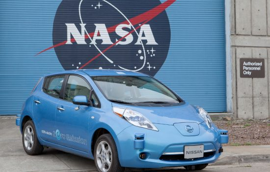 The all-electric Nissan Leaf fitted with autonomous drive equipment parked at NASA's Ames Research Center.