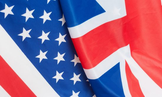 Closeup of Flags of Great Britain and USA