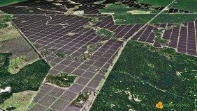 A mockup design of the  proposed Solar Choice Bulli Creek solar farm - image courtesy of Solar Choice.