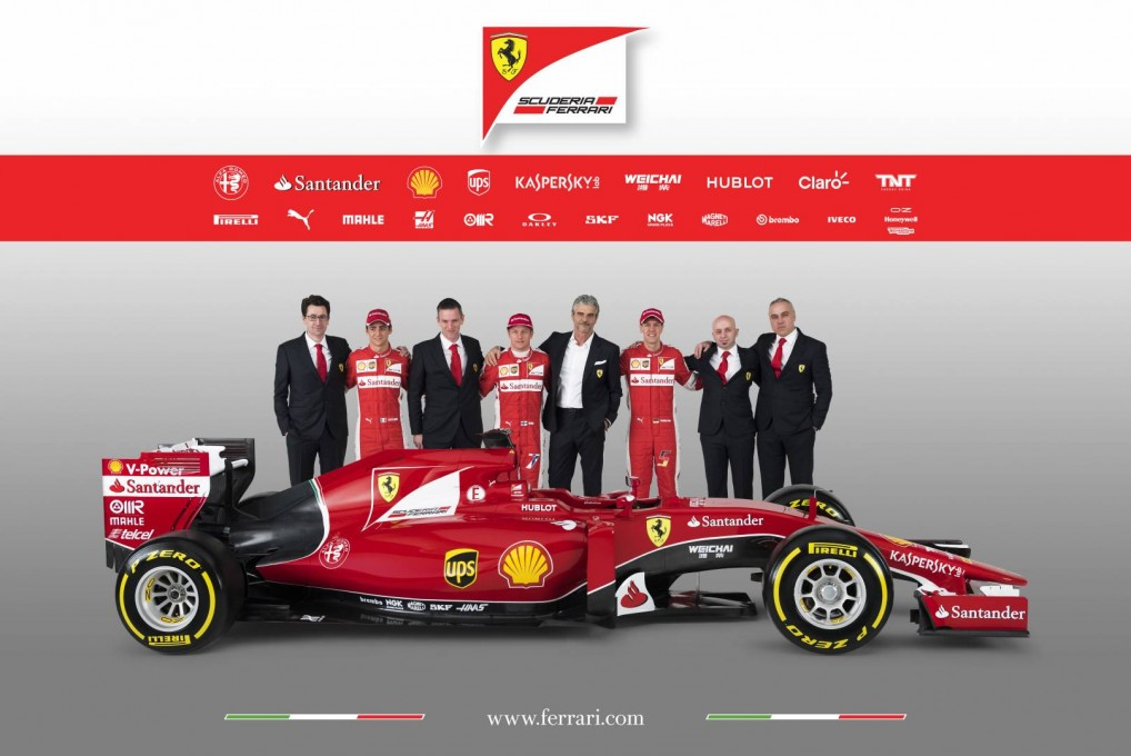 The existing Ferrari F1 car with Ferrari senior management and drivers. From left - Mattia Binotto, Esteban Gutierrez, James Allison, Kimi Raikkonen, Maurizio Arrivabene, Sebastian Vettel, Simone Resta, Corrado Lanzone