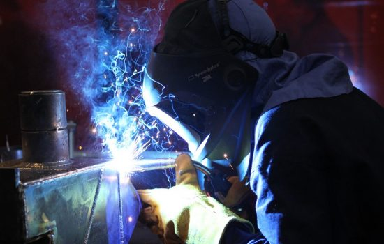 A competitor in the WorldSkills London 2011 welding category