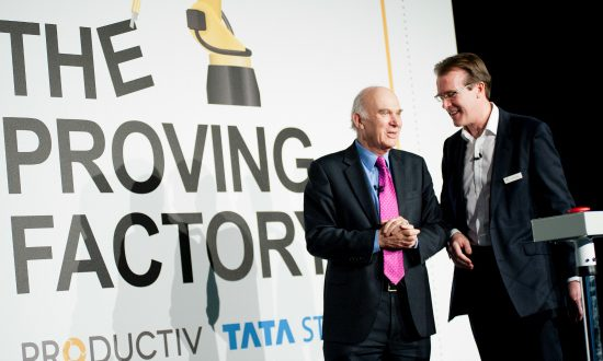 Dr Vince Cable congratuates founder Richard Bruges on the Proving Factory's success