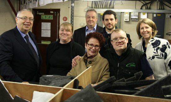 Image L to R: Dave Pinwell (Colebridge Trust); Tina Williams, Charles Rapson (both Colebridge Enterprises); Hazel Blears MP, Tom McNeil (prospective parliamentary candidates; Chris Holmes (Colebridge Enterprises), and Melanie Mills.