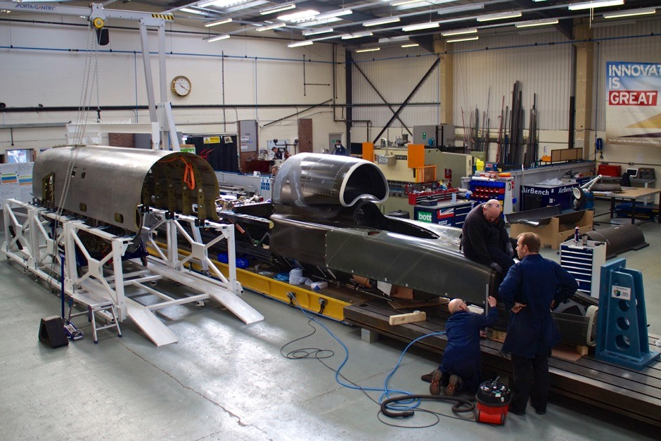 Inside the Bloodhound SSC factory in Bristol.