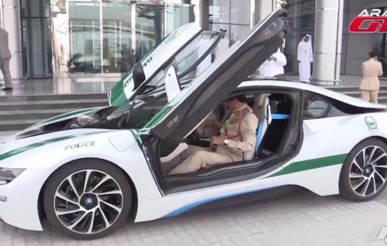 The Dubai Police force BMW i8 during the handover ceremony - image courtesy of ArabGT.com.