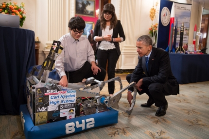 President Obama with two of the students at the 2015 White House Science Fair - image courtesy of the White House.