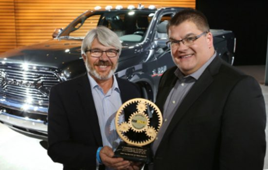 2015 Ram Power Wagon named Four Wheeler Magazine Pickup Truck of the Year. Rick Pewe, Content Director for the Four Wheeler Network and Bob Hegbloom, President and CEO of Ram Truck Brand.