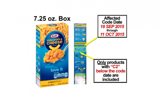 Kraft has recalled packets of its Macaroni & Cheese Dinner due to the possiblity of them containing metal fragments - image courtesy of Kraft