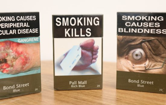 Examples of tobacco plain packaging implemented in Australia - image courtesy of the Cancer Council Victoria