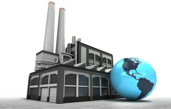 US manufacturing factory with globe - image courtesy of DFC