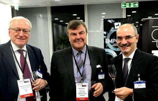 Image L to R: Professor Perkins, Rob Gilbert and Dick Elsy - pictured at The Manufacturer Top 100.