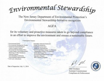 The Agfa Graphics Environmental Stewardship certificate