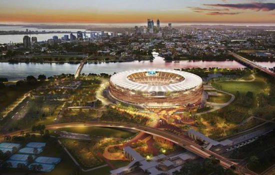 The new Perth Stadium and Sports Precinct - image courtesy of the Government of Western Australia.