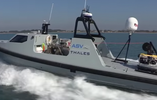 The Thales Halcyon Unmanned Surface Vehicle used for underwater mine detection and neutralisatoin